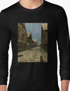 Deserted Mediaeval Street Scene Long Sleeve T-Shirt