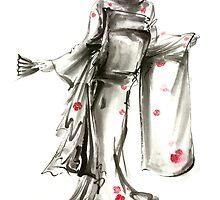 Geisha Japanese woman sumi-e original painting art print by Mariusz Szmerdt