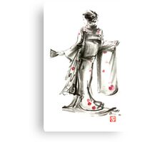 Geisha Japanese woman sumi-e original painting art print Canvas Print