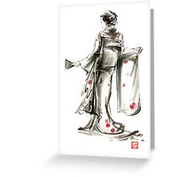 Geisha Japanese woman sumi-e original painting art print Greeting Card