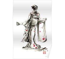 Geisha Japanese woman sumi-e original painting art print Poster