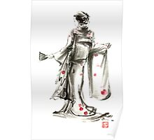 Geisha Japanese woman sumi-e original painting art print Poster