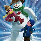 Children and Snowman playing together by martyee