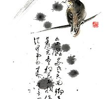 Bird and the Zhang Zhi poem calligraphy sumi-e original painting artwork by Mariusz Szmerdt