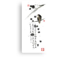 Bird and the Zhang Zhi poem calligraphy sumi-e original painting artwork Canvas Print