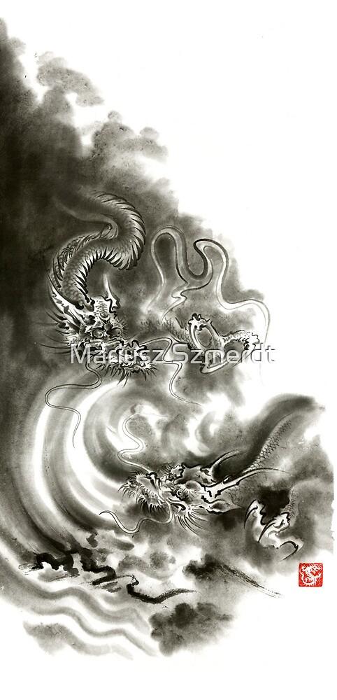 Two dragons gold fantasy dragon design sumi-e ink painting dragon art by Mariusz Szmerdt