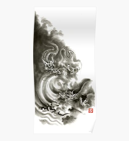 Two dragons gold fantasy dragon design sumi-e ink painting dragon art Poster
