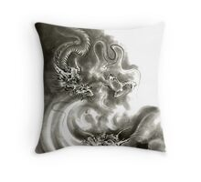 Two dragons gold fantasy dragon design sumi-e ink painting dragon art Throw Pillow