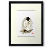 Woman geisha erotic act 女性 Japanese ink painting Framed Print