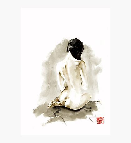 Woman geisha erotic act 女性 Japanese ink painting Photographic Print