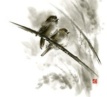 Sparrows sumi-e bird birds on branches original ink painting artwork by Mariusz Szmerdt