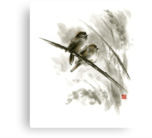 Sparrows sumi-e bird birds on branches original ink painting artwork Canvas Print