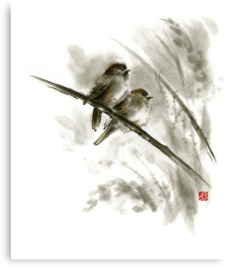 Sparrows sumi-e bird birds on branches original ink painting artwork by Mariusz Szmerdt