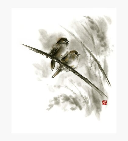 Sparrows sumi-e bird birds on branches original ink painting artwork Photographic Print