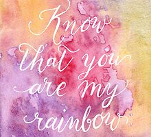 Know that you are my rainbow {white on warm} by BbArtworx