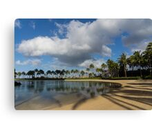 Shadows of Palms - a Lagoon in Waikiki, Honolulu, Hawaii Canvas Print