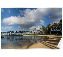 Shadows of Palms - a Lagoon in Waikiki, Honolulu, Hawaii Poster