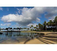 Shadows of Palms - a Lagoon in Waikiki, Honolulu, Hawaii Photographic Print