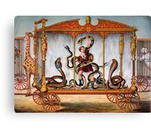 Circus performer covered in snakes vintage image Canvas Print