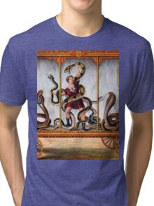 Circus performer covered in snakes vintage image Tri-blend T-Shirt
