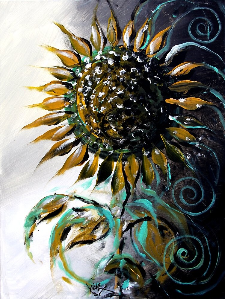 Abstract SUNFLOWER Art, Beautiful, Deep, Rich, Meaningful Scarpace Original Design by 17easels