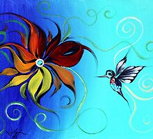 Abstract HUMMINGBIRD / FLOWER ART, Original design from J. Vincent, COLORFUL, MUST SEE by 17easels