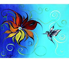 Abstract HUMMINGBIRD / FLOWER ART, Original design from J. Vincent, COLORFUL, MUST SEE Photographic Print