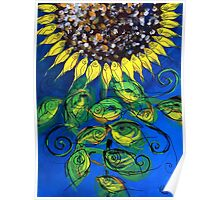 SUNFLOWER and ABSTRACT FISH Print, Beautiful, Fish Design creates Flower, MUST SEE Poster