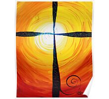Christian Cross Art, Abstract, WARM Sunset, COLORFUL, Deep, Original Design from J. Vincent Poster