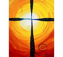 Christian Cross Art, Abstract, WARM Sunset, COLORFUL, Deep, Original Design from J. Vincent Photographic Print