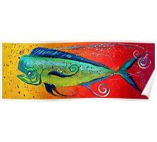 MAHI MAHI, Colorful, FUN, Abstract Fish Art Original Design from J. Vincent, MUST SEE, BEAUTIFUL Poster