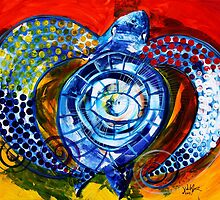 "Abstract SEA TURTLE !!  Beautiful, ""Sun Turtle / Sun Love"" Original from J. Vincent, MUST SEE, Sharp! by 17easels"