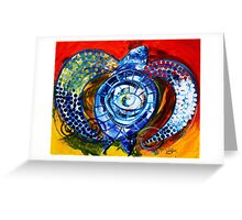 """Abstract SEA TURTLE !!  Beautiful, """"Sun Turtle / Sun Love"""" Original from J. Vincent, MUST SEE, Sharp! Greeting Card"""