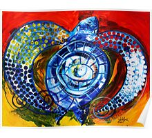 "Abstract SEA TURTLE !!  Beautiful, ""Sun Turtle / Sun Love"" Original from J. Vincent, MUST SEE, Sharp! Poster"