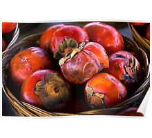 persimmons in a basket Poster
