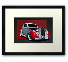 1938 Plymouth Coupe (primer with flames) Framed Print