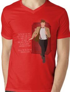 11th Doctor - Basically, Run! Quote Mens V-Neck T-Shirt