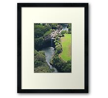 Waterfall from Helicopter, Hilo Framed Print