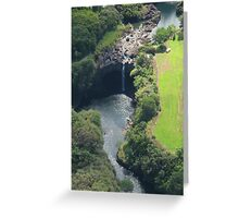 Waterfall from Helicopter, Hilo Greeting Card