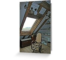 Collection of Vintage Light Fixtures with Rocking Chair Greeting Card