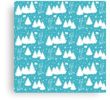 Let it snow hand lettering winter holiday pattern Canvas Print
