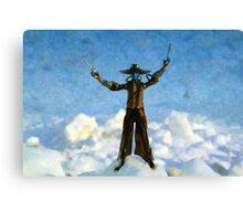 The Gunslinger Blue Canvas Print