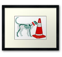 DOG & TRAFFIC RUBBER CONE Framed Print