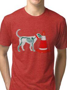 DOG & TRAFFIC RUBBER CONE Tri-blend T-Shirt