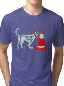 DOG & TRAFFIC RUBBER CONE Tri-blend T-Shirt