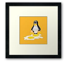 LINUX TUX PENGUIN TWINS SUNNYSIDE UP  Framed Print