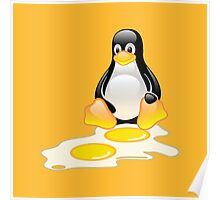 LINUX TUX PENGUIN TWINS SUNNYSIDE UP  Poster