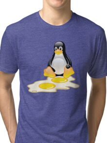 LINUX TUX PENGUIN TWINS SUNNYSIDE UP  Tri-blend T-Shirt