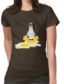 LINUX TUX PENGUIN TWINS SUNNYSIDE UP  Womens Fitted T-Shirt