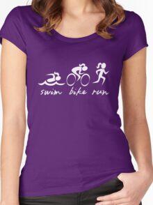 Swim bike Run Girl Women's Fitted Scoop T-Shirt